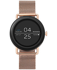 Skagen Unisex Falster Rose Gold-Tone Stainless Steel Mesh Bracelet Touchscreen Smart Watch 42mm