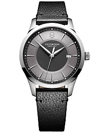 Victorinox Swiss Army Men's Swiss Alliance Black Leather Strap Watch 40mm