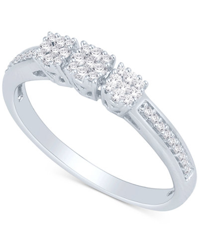 Diamond Square Cluster Ring (1/4 ct. t.w.) in Sterling Silver
