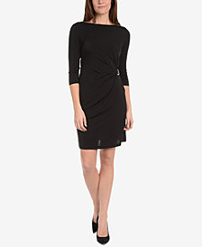NY Collection Boat-Neck Buckle-Embellished Dress
