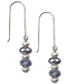 Jody Coyote Iridescent Glass Bead Drop Earrings in Sterling Silver & Silver-Plate