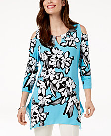 JM Collection Embellished Printed Cold-Shoulder Tunic, Created for Macy's