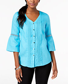 JM Collection Linen Crochet-Trim Bell-Sleeve Blouse, Created for Macy's