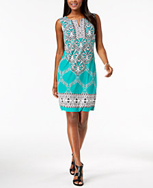 JM Collection Printed Rhinestone-Embellished Dress, Created for Macy's