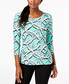 JM Collection Petite Printed Jacquard Top, Created for Macy's