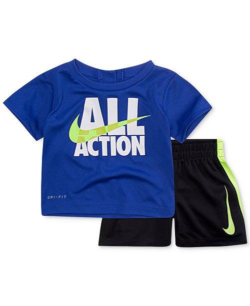 4e7c8e1b5c42 Nike 2-Pc. Action-Print T-Shirt & Shorts Set, Baby Boys & Reviews ...