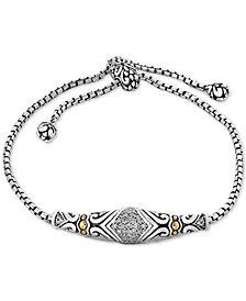 Balissima by EFFY® Diamond Slider Bracelet (1/8 ct. t.w.)in Sterling Silver & 18k Gold