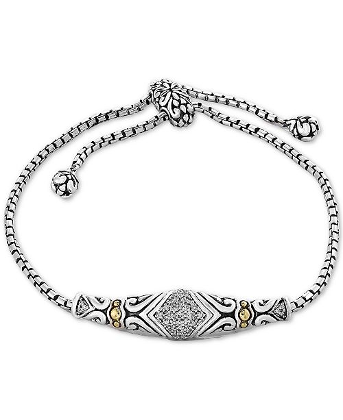 EFFY Collection Balissima by EFFY® Diamond Slider Bracelet (1/8 ct. t.w.)in Sterling Silver & 18k Gold