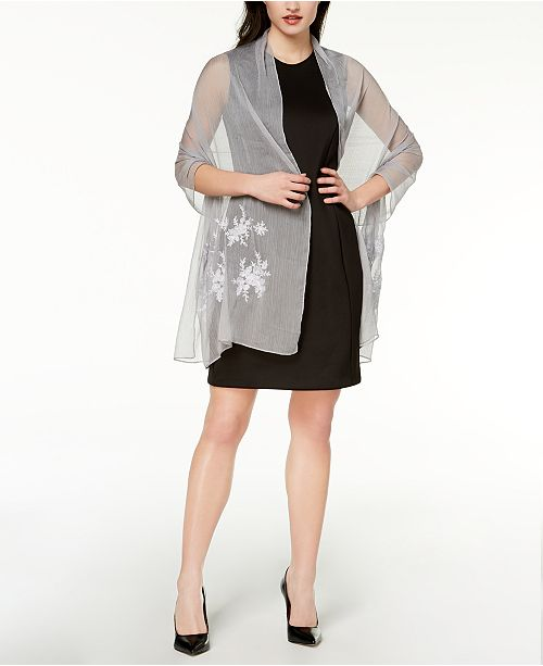 Shine Concepts N Evening I INC Macy's Silver International Created C Embroidered Wrap for qaBwYR