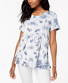 Style & Co Tie-Dyed Ruffle T-Shirt, Created for Macy's