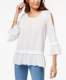 Style & Co Petite Eyelet-Embroidered Cold-Shoulder Top, Created for Macy's