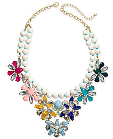 "I.N.C. Gold-Tone Stone & Crystal Beaded Flower Statement Necklace, 18"" + 3"" extender, Created for Macy's"