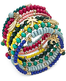 I.N.C. Gold-Tone Multi-Charm Beaded Coil Bracelet, Created for Macy's