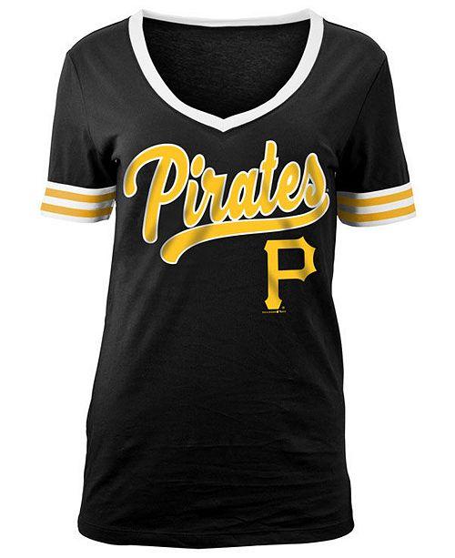official photos a499d 87deb 5th & Ocean Women's Pittsburgh Pirates Retro V-Neck T-Shirt ...