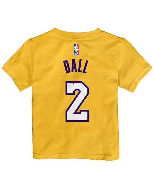 Nike Lonzo Ball Los Angeles Lakers Replica Name   Number T-Shirt ... 899d33635