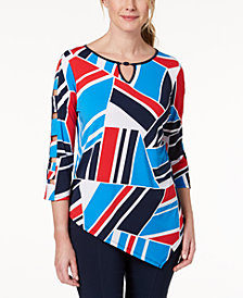 Alfred Dunner America's Cup Asymmetrical-Hem Printed Tunic