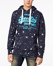 Superdry Men's Premium Goods Paint-Splatter Logo-Print Hoodie