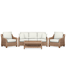 Willough Outdoor 4-Pc. Set (1 Sofa, 2 Club Chairs & 1 Coffee Table), Created for Macy's