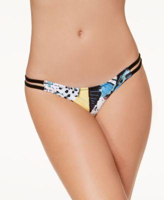 Collage Dropout Printed Strappy Bikini Bottoms