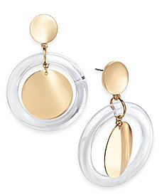I.N.C. Gold-Tone & Resin Gypsy Hoop Earrings, Created for Macy's