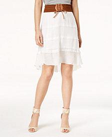 BCX Juniors' Lace-Up Faux-Belt Tiered Skirt