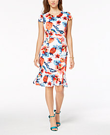 Betsey Johnson Floral Ruffled-Hem Bodycon Dress
