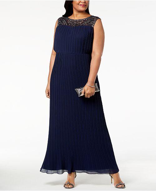 Alex Evenings Plus Size Pleated Illusion Gown - Dresses - Women - Macy\'s