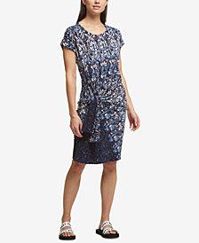 DKNY Side-Tie Printed Dress