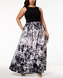 Xscape Plus Size Solid & Floral-Print Gown