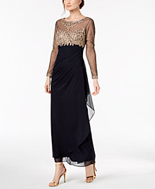 Xscape Petite Embroidered Illusion Gown