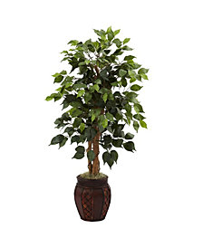 "Nearly Natural 44"" Ficus Tree with Decorative Planter"