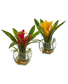 Nearly Natural 2-Pc. Bromeliad Set with Glass Vases