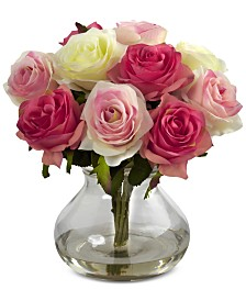 Nearly Natural Pink Rose Arrangement with Vase