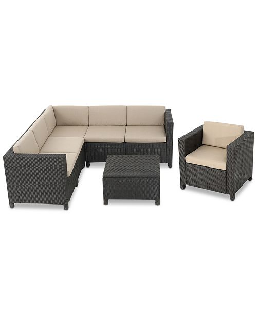 Furniture Ventura Outdoor 7-Pc. Sectional Sofa Set, Quick Ship ...