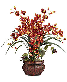 Nearly Natural Cymbidium Arrangement with Decorative Vase