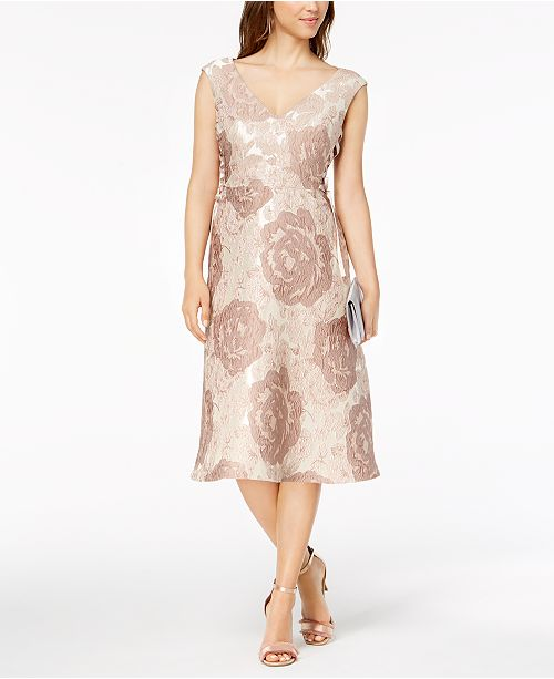 Taupe Floral Adrianna Up Papell Brocade Dress Multi Lace TxnnYHgS