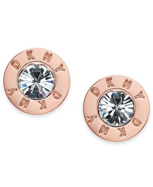 8db4c5ef4 DKNY Rose Gold-Tone Crystal Logo Stud Earrings, Created for Macy's ...