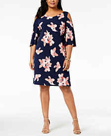 Connected Plus Size Floral-Print Cold-Shoulder Dress