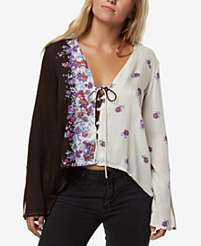 O'Neill Juniors' Charley Lace-Up Two-Tone Blouse