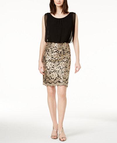 Calvin Klein Sequined Chiffon Sheath Dress
