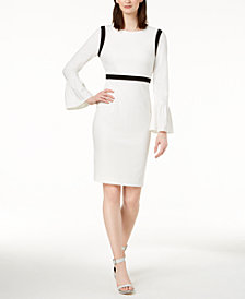 Calvin Klein Petite Color-blocked Bell-Sleeve Sheath Dress