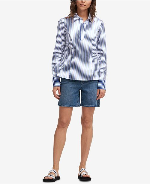 DKNY Striped Popover Shirt
