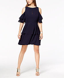 Vince Camuto Ruffle Cold-Shoulder A-Line Dress