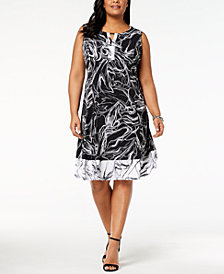 JM Collection Plus & Petite Plus Size Printed A-Line Dress, Created for Macy's