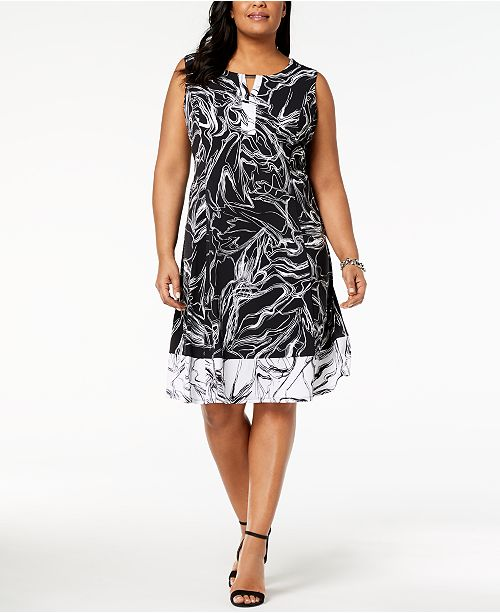 Jm Collection Plus Petite Plus Size Printed A Line Dress Created