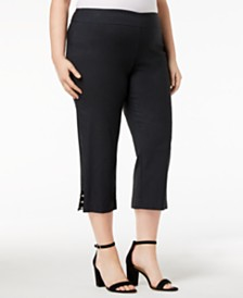 JM Collection Plus Plus Size Tummy Control Capri Pants, Created for Macy's
