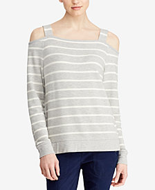 Lauren Ralph Lauren Striped Cold-Shoulder Top