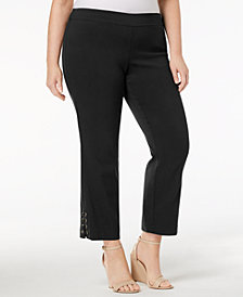 JM Collection Plus Size Lace-Up Ankle Pants, Created for Macy's