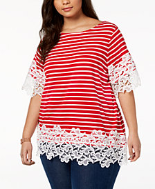 Tommy Hilfiger Plus Size Striped Lace-Trim Top, Created for Macy's