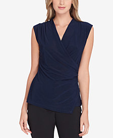 Tahari ASL Ruched Surplice Top